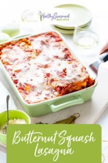 three quarter view of lasagna with text