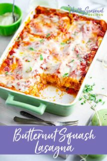 three quarter view of lasagna with text in purple
