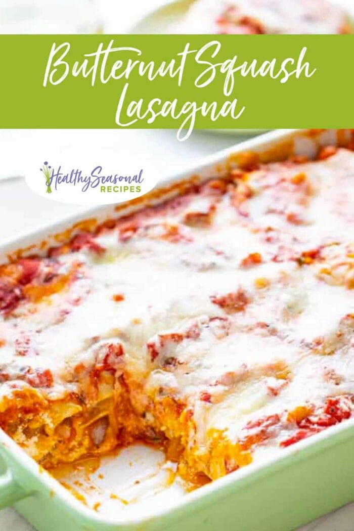 lasagna with piece taken out of the baking dish from three quarters view