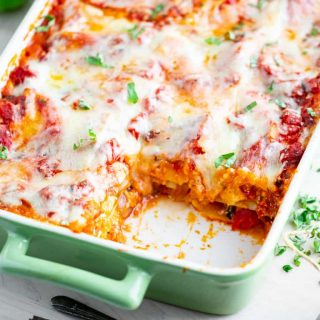 a close-up of butternut squash lasagna
