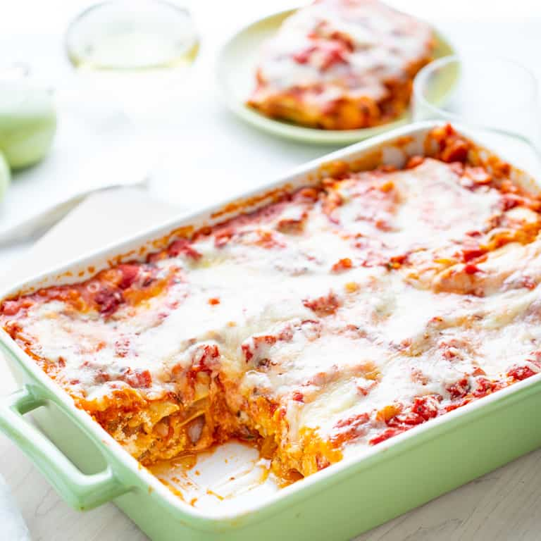 Butternut Squash Lasagna in a green lasagna pan