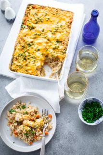 A gray table with Chicken and Rice Casserole