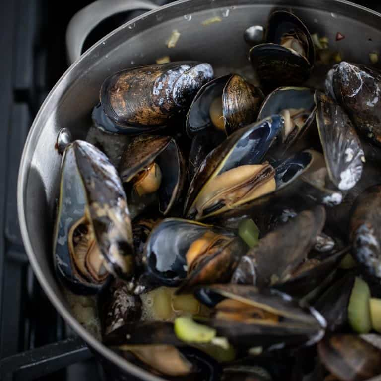How to Cook Mussels: Open mussels after steaming