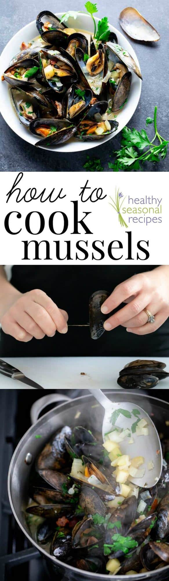How to Cook Mussels and a recipe for Mussels with Apples and Bacon on Healthy Seasonal Recipes #mussels #seafood #lent #christmaseve