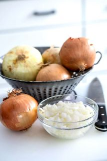 a colander with onions, a bowl of diced onion