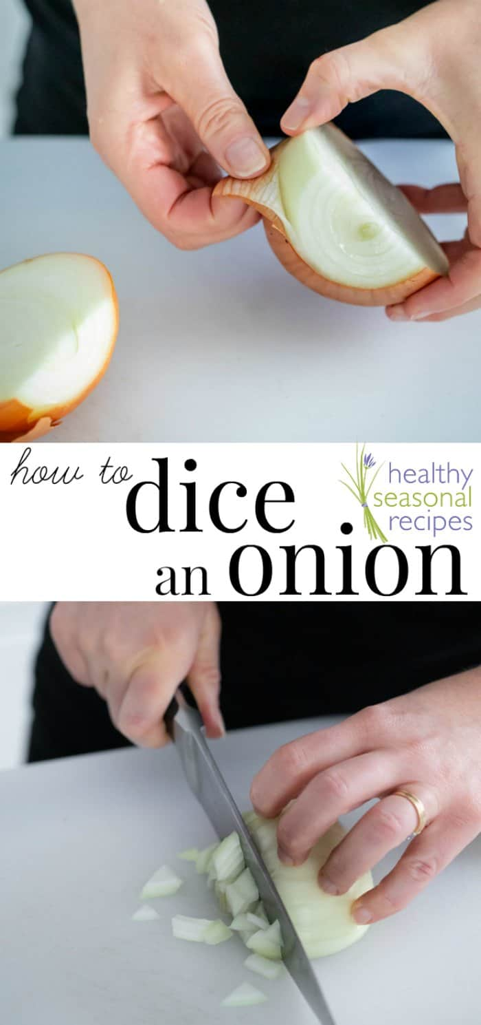 The proper way to dice an onion. What is the difference between chopped and sliced. What does French Cut mean? Learn how with step-by-step photos on Healthy Seasonal Recipes by Katie Webster #onions #culinary #cookingtips #dice #slice #knifeskills