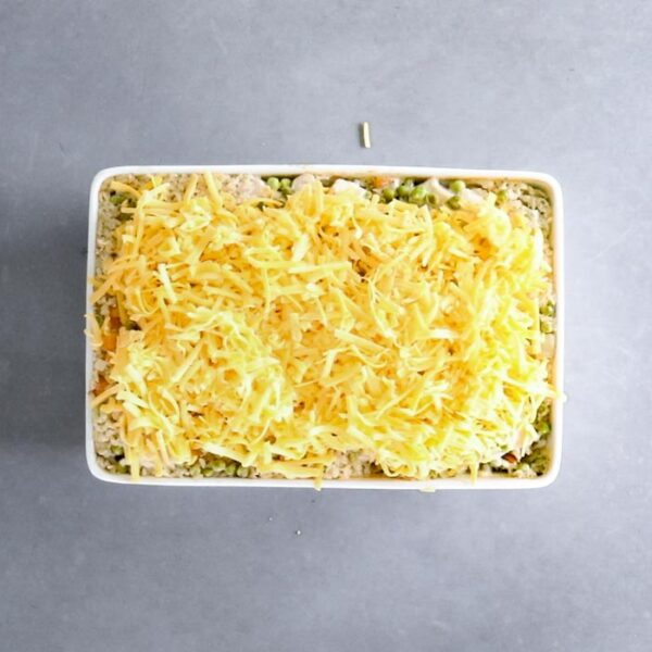 Remove the foil, top the casserole with cheese and bake 10 minutes longer.