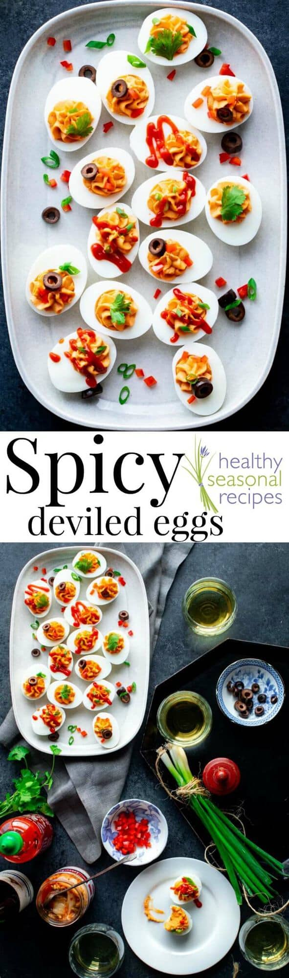 Spicy deviled Eggs with Sriracha. Top them with assorted toppings to make an EASY and festive appetizer for your holiday party. Only 45 calories each and 0 grams carbs. #christmas #easter #newyearseve #thanksgiving #fourthofjuly #deviledeggs #spicy #healthy #greekyogurt #keto #lowcarb #appetizer #glutenfree #grainfree #wheatfree #primal #lowcalorie