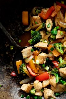 Chicken and Veggie Stir-fry in a wok