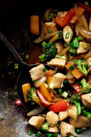 Chicken and Veggie Stir-fry in a wok