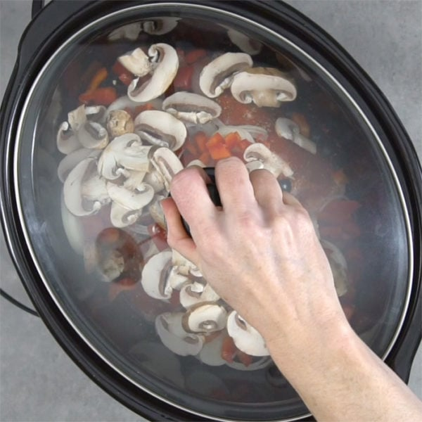 a person putting the lid on top of the slow cooker