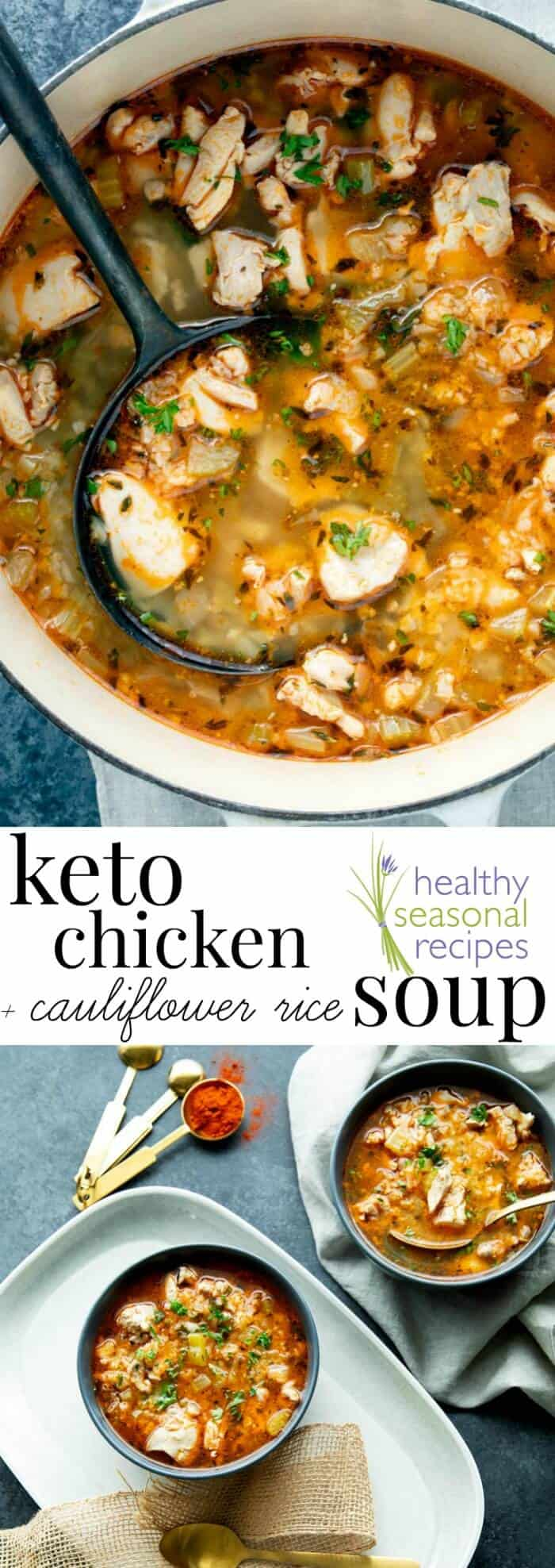 This Keto Chicken Soup is comforting and delicious with cauliflower rice and chicken thighs and is ready in less than 40 minutes. #lowcarb #kidfriendly #PaleoFriendly #DairyFree #GrainFree #GlutenFree