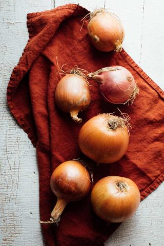 From hair growth to curing a common cold, there are many questions about these staple veggies. Ever wondered where onions came from? Or how do onions grow? And then there is the ongoing question of how do you caramelize one, or can onions be frozen? Look no further than this Ultimate Guide to Onions to learn everything about growing, cooking and nourishing about these lovely alliums. | Healthy Seasonal Recipes by Katie Webster #onions #caramelize #dice #producespotlight #seasonal