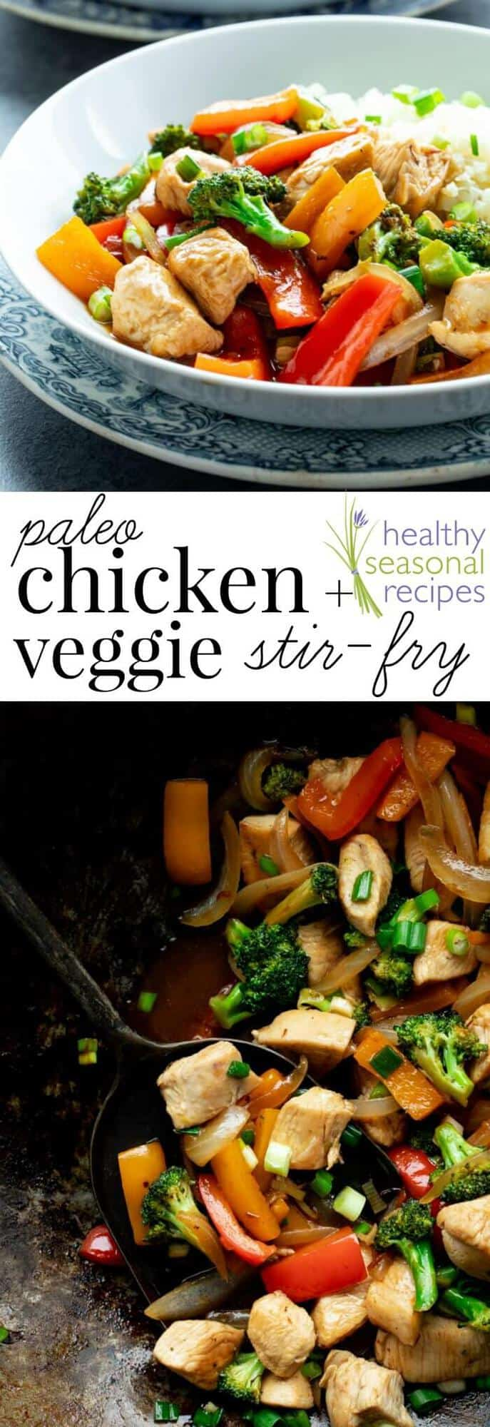 Forget about take-out! This easy and healthy Chicken and Veggie Stir-fry is a 30 minute veggie-heavy dinner the whole family will love. It's grain-free and soy-free so that means it's Paleo friendly! It's loaded with broccoli, peppers and boneless skinless chicken breast. #paleo #stirfry #chicken #healthy #easy #30minuterecipe #dinner #entree #broccoli #peppers #veggies #chickenandveggies #grainfree #soyfree