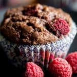 close-up of paleo chocolate raspberry muffin