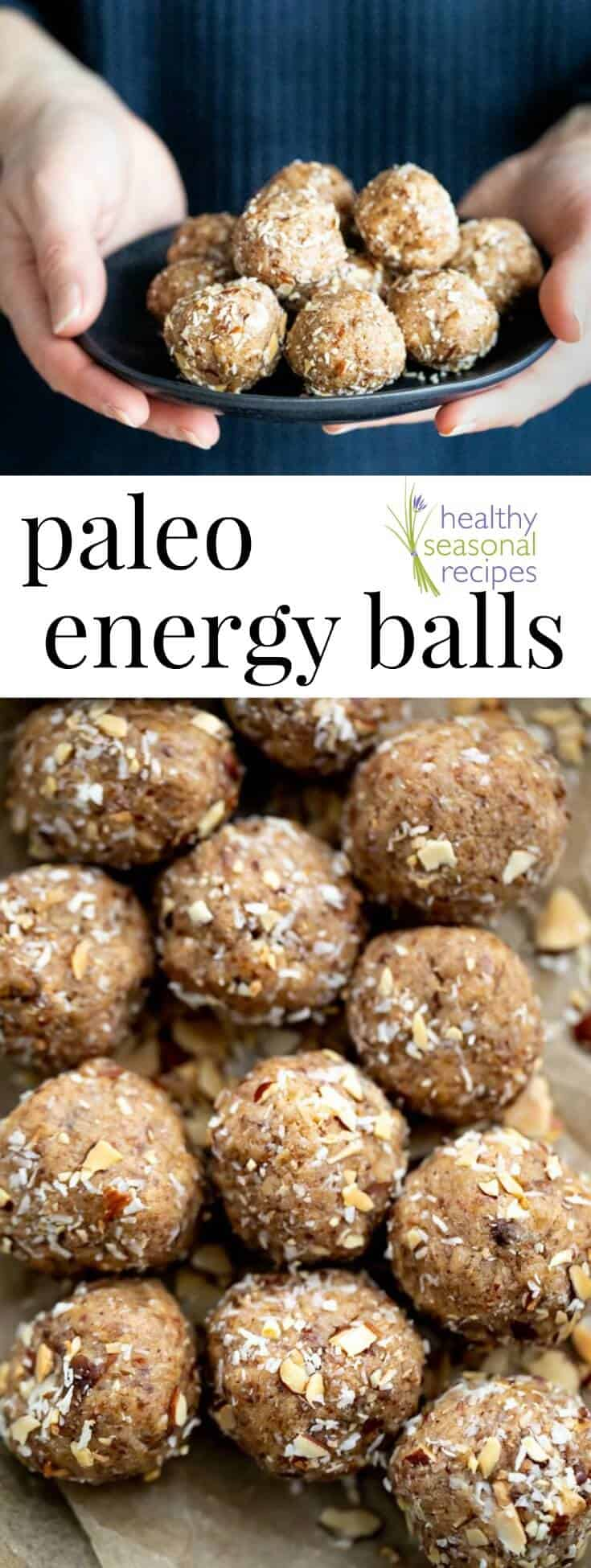 Paleo Energy Balls, made without refined sugar, they're grain-free, gluten-free and dairy-free. They are made with coconut flour, almond flour, dates and almond butter with a touch of maple syrup. They make a great healthy snack! #snack #energyball #paleo #primal #grainfree #wheatfree #dairyfree #healthy