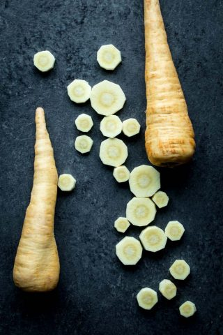parsnips sliced and whole
