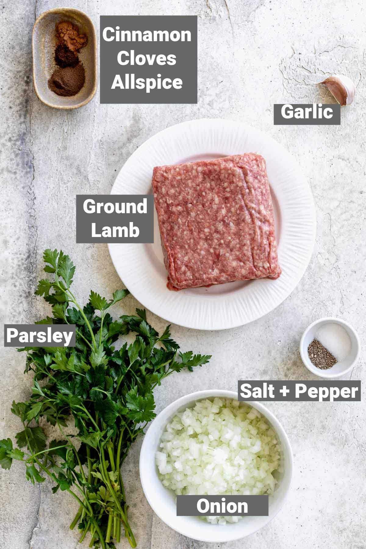 ingredients with labels for these kofta