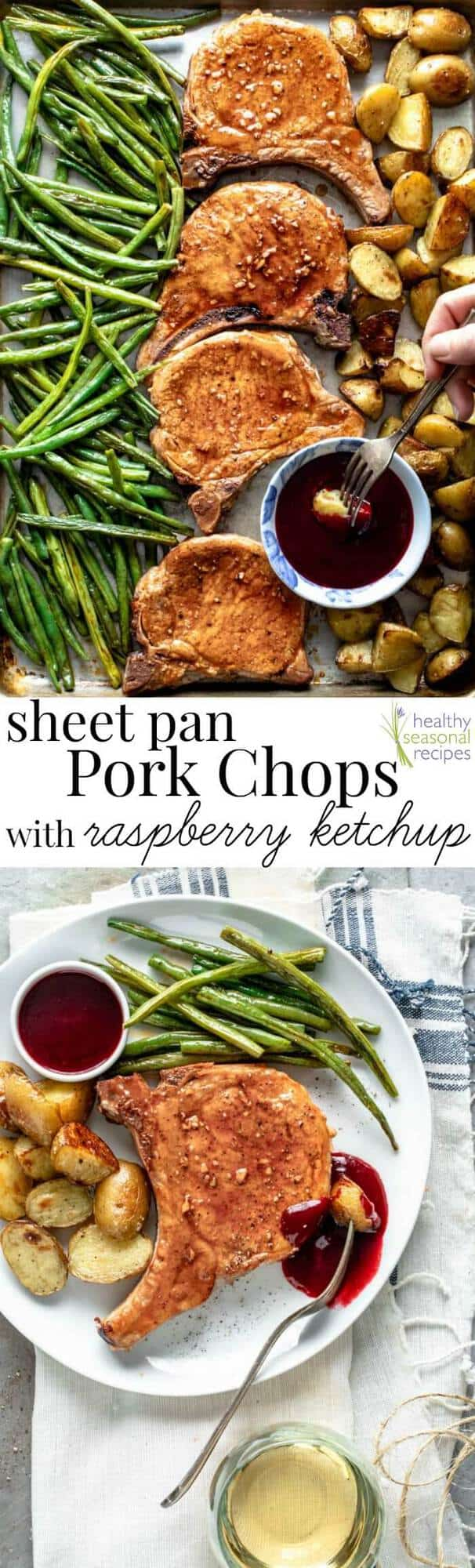 collage of Pork Chop and Raspberry