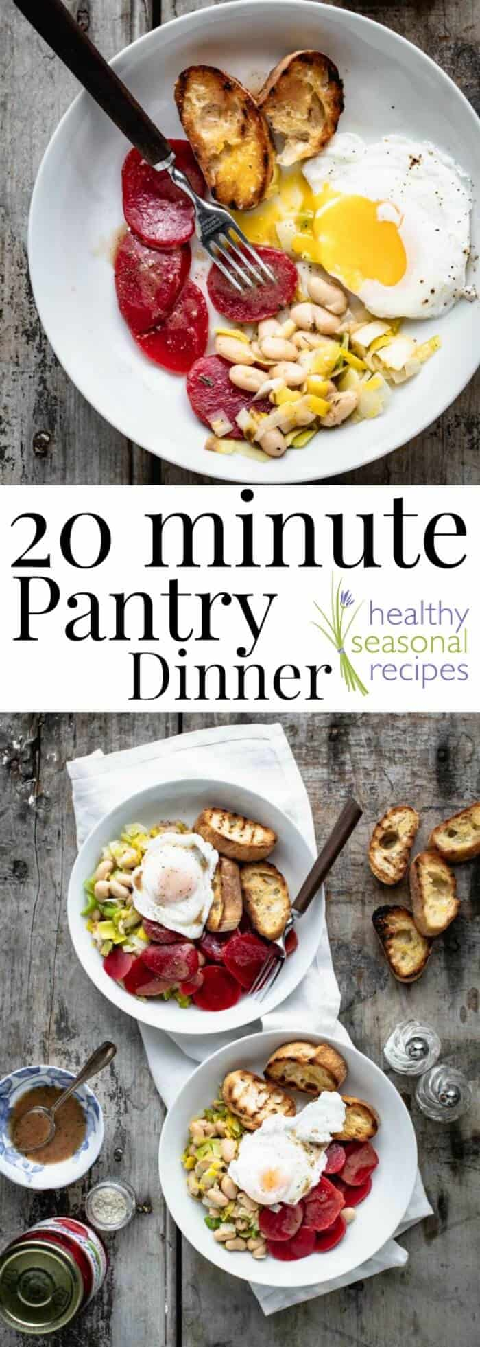 20 Minute Pantry Dinner with warm white beans, beets and poached eggs. A simple vegetarian dinner made from ingredients you already have on hand. #vegetarian #20minutedinner #healthy