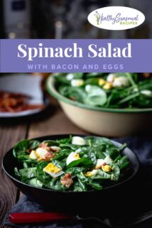 bowls of spinach salad with bacon and eggs