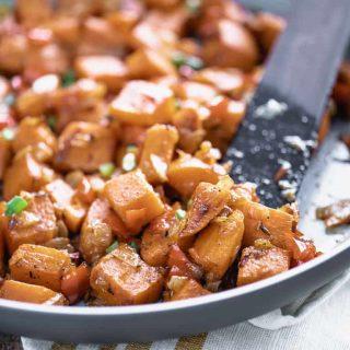a close up of breakfast sweet potato hash