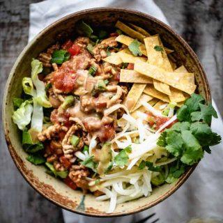 healthy taco salad overhead
