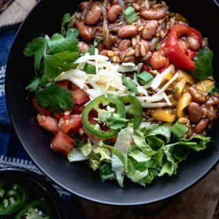 close up of a vegetarian burrito bowl