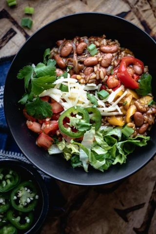 close up of a vegetarian burrito bowl