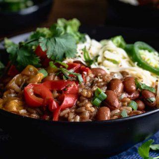 Close up of vegetarian burrito bowl