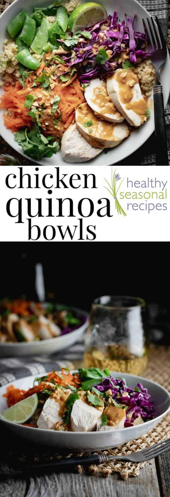 These healthy chicken quinoa bowls are easily customizable to use what ingredients you have on hand. Here we topped the quinoa power bowls with with chicken, cabbage, snow peas and carrots. Drizzle with simple home-made peanut dressing. These bowls are great for beginners and you can feel free to sub in cooked left-over chicken, rotisserie chicken. To make this buddha bowl recipe vegan, sub in cubed baked tofu for the poached chicken, and sub vegetable broth for the vegetable broth. #quinoa #chicken #bowl #peanut #glutenfree #healthy #entree #buddhabowl