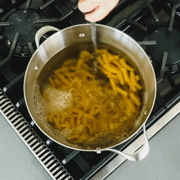 Boil pasta according to package instructions