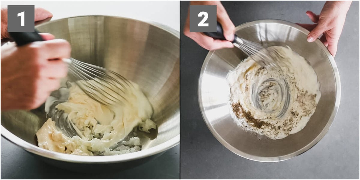 whisking the greek yogurt coleslaw dressing in a stainless bowl