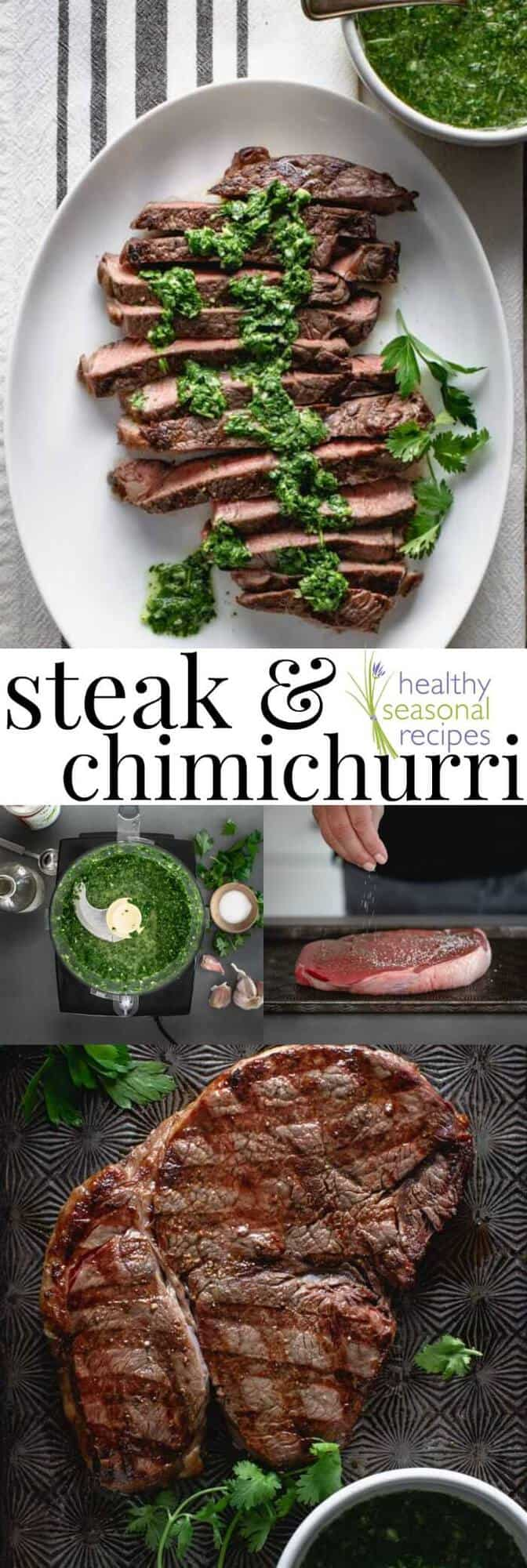 A plate of food with  Steak and Chimichurri