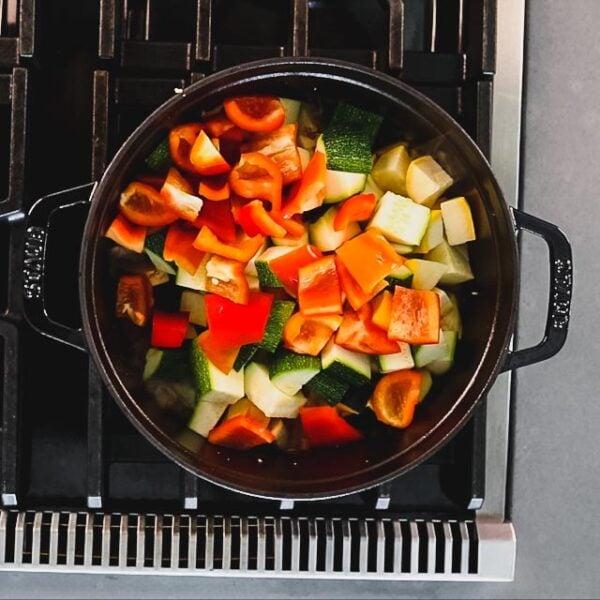 Stir in the vegetables