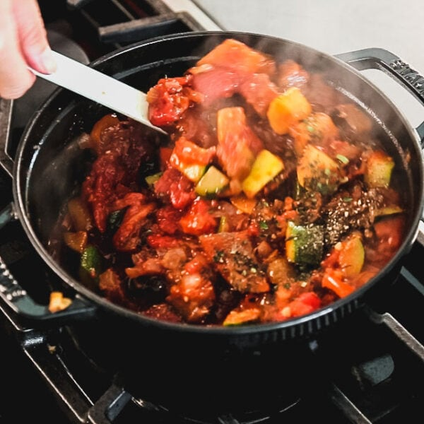 Stirring and cooking ratatouille