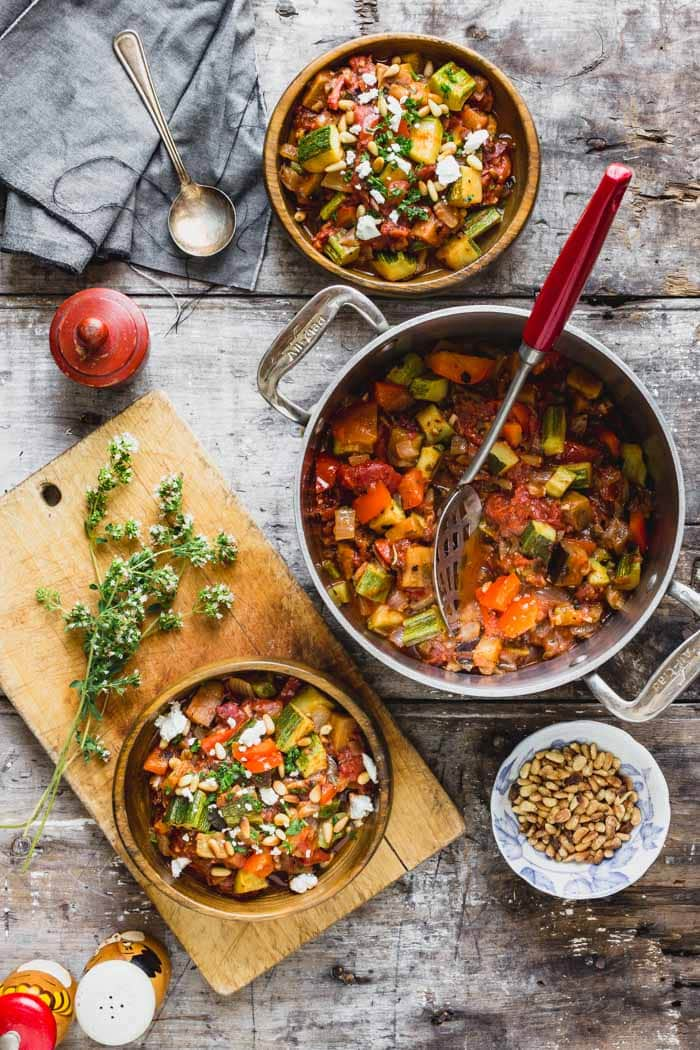 Ratatouille in a pot with two servings