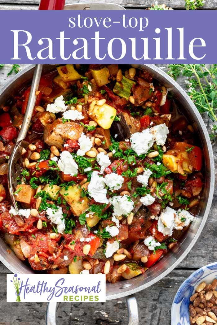 A pot of ratatouille with goat cheese on it