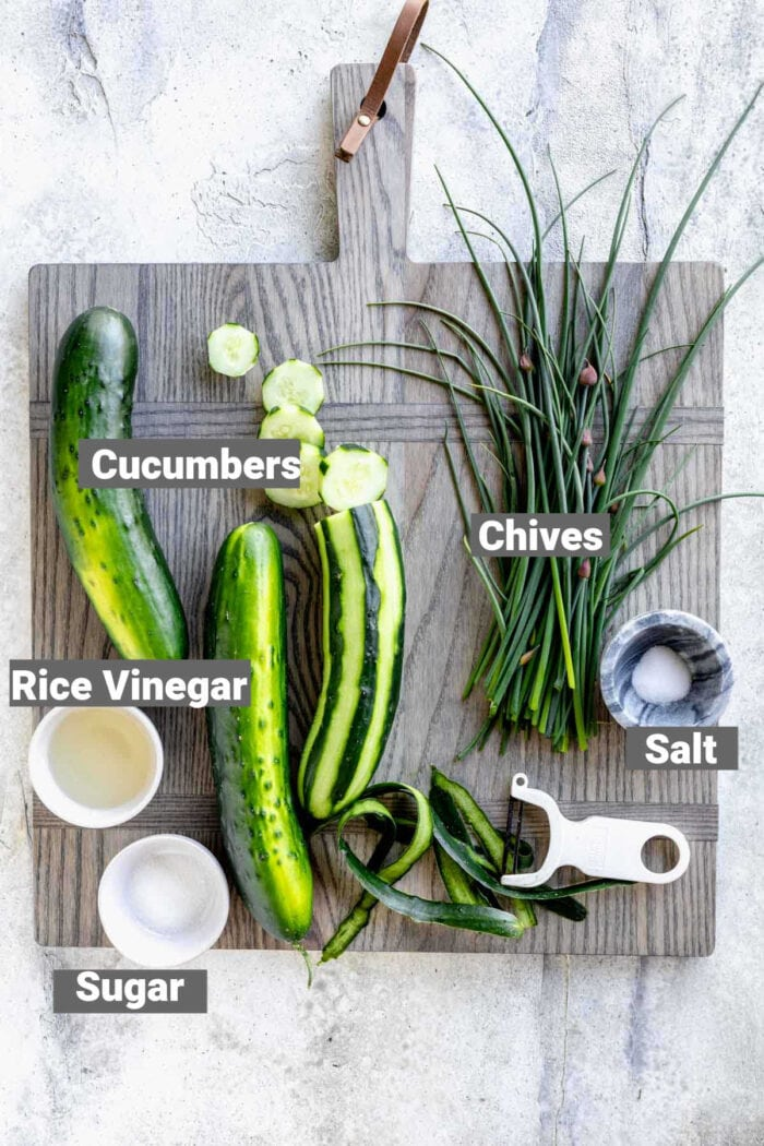 the ingredients for this cuke salad with text overlay labeling them