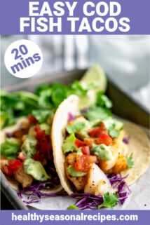 close-up of cod fish tacos