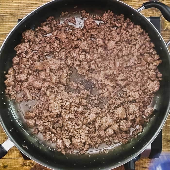 brown beef in a non-stick skillet