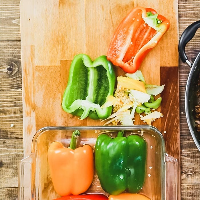 Arrange pepper halves in a dish, add water and cover. Microwave to steam 4 to 5 minutes.