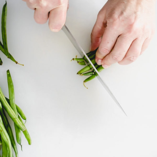 Cut stem ends off green beans