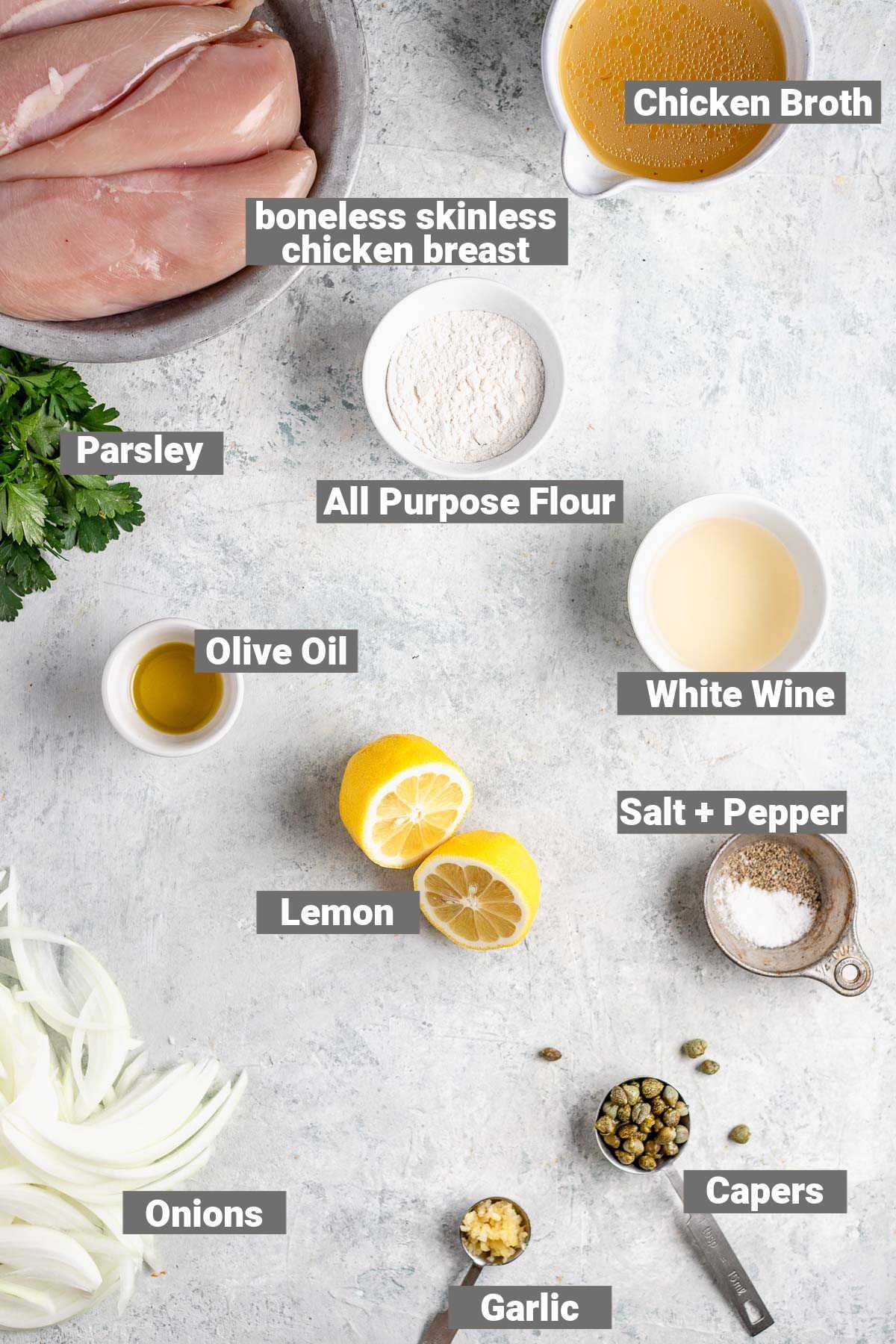 ingredients for chicken piccata