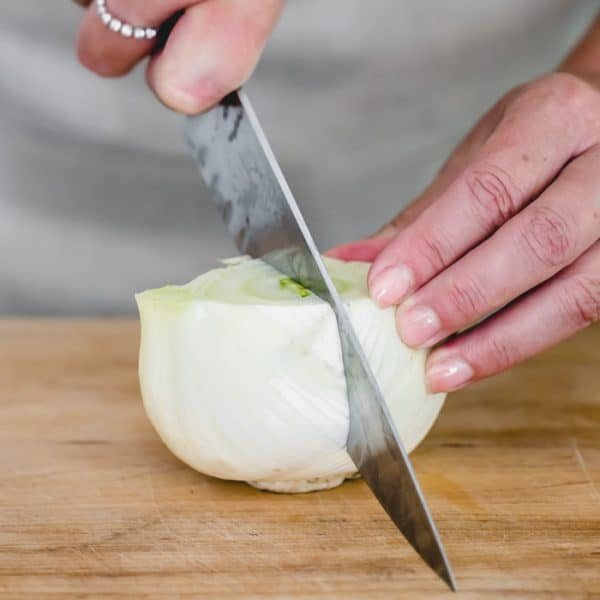 cut fennel bulb in half