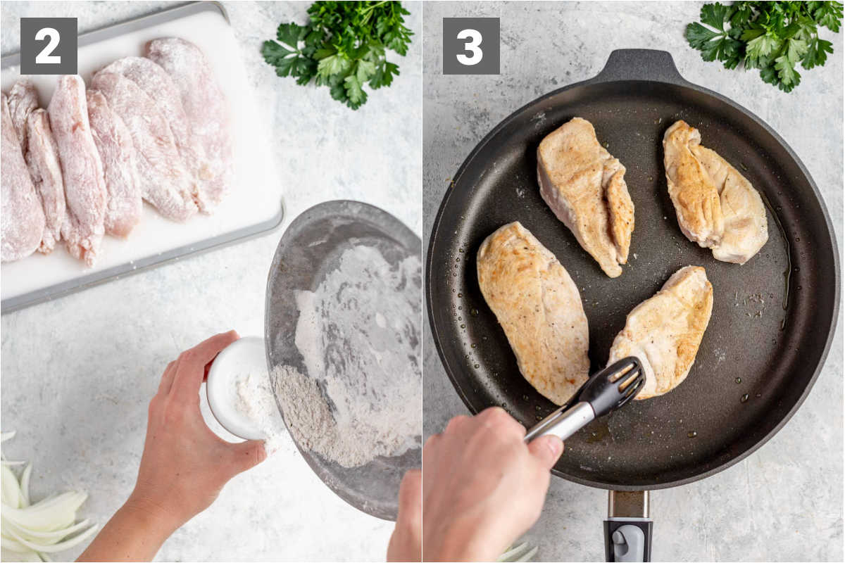 dredge the chicken and brown in a non-stick skillet