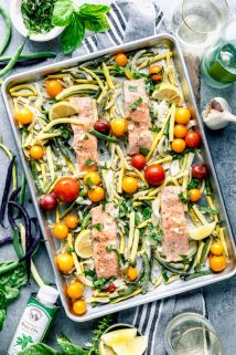 an overhead of sheet pan salmon and vegetables