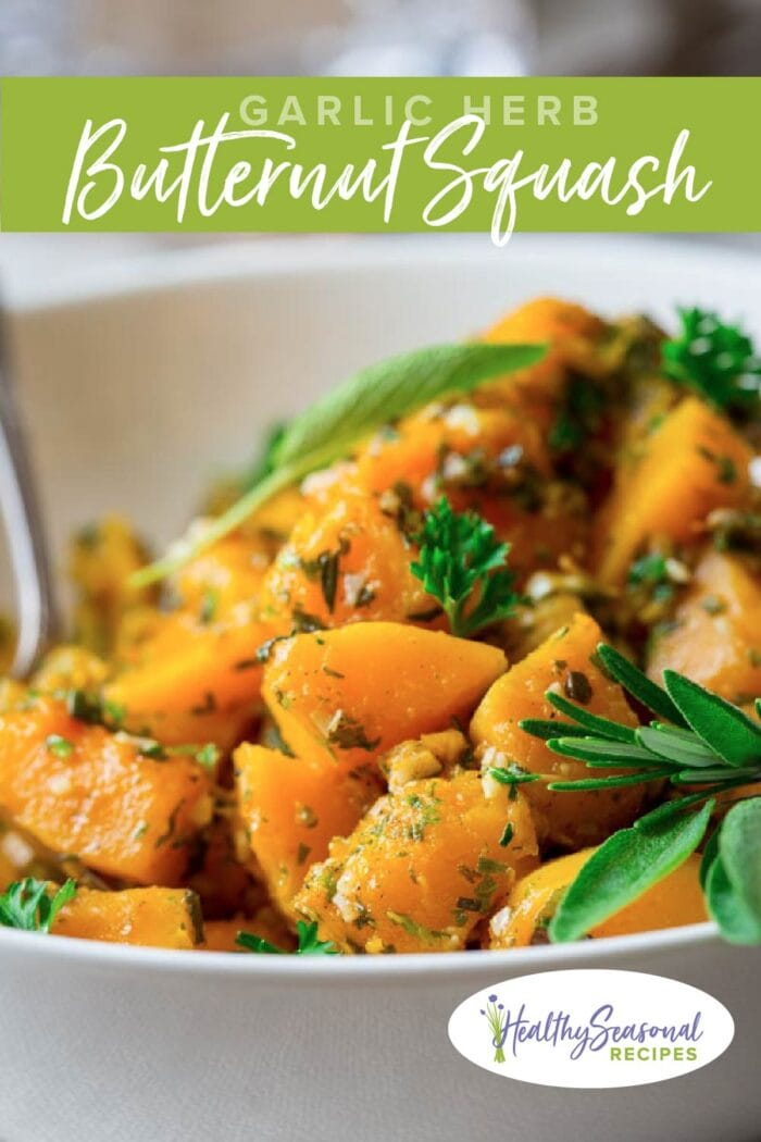 Butternut Squash in a bowl up close with sprig of sage with text overlay