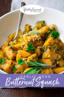 Butternut Squash chunks in a bowl with herbs