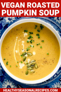close up of a bowl of the soup with text overlay